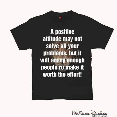 Image of Positive Attitude Mens Hanes T-Shirt - Black / Small (S)