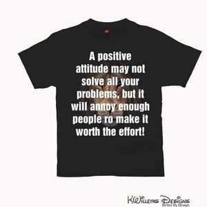 Positive Attitude Mens Hanes T-Shirt - Black / Small (S)