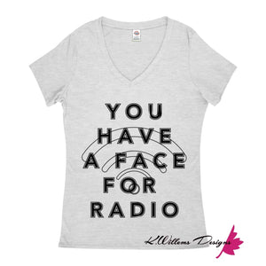 Radio Face Ladies V-Neck T-Shirts - Athletic Heather / Small (S)