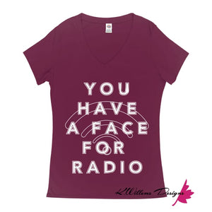 Radio Face Ladies V-Neck T-Shirts - Berry / Small (S)