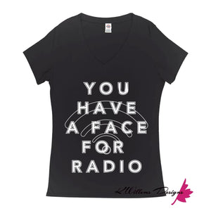 Radio Face Ladies V-Neck T-Shirts - Black / Small (S)