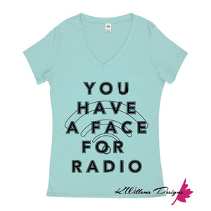 Radio Face Ladies V-Neck T-Shirts - Celadon / Small (S)