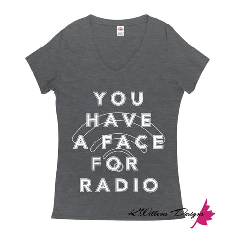 Image of Radio Face Ladies V-Neck T-Shirts - Charcoal Heather / Small (S)
