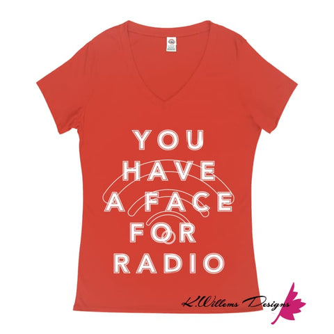 Image of Radio Face Ladies V-Neck T-Shirts - Deep Coral / Small (S)