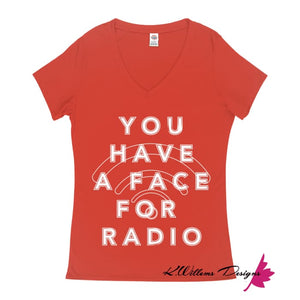 Radio Face Ladies V-Neck T-Shirts - Deep Coral / Small (S)
