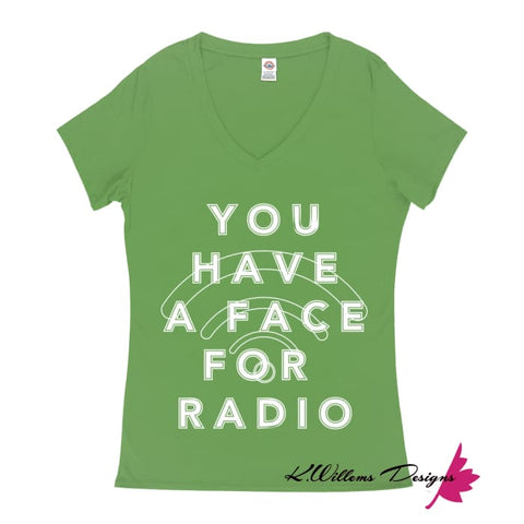 Image of Radio Face Ladies V-Neck T-Shirts - Grass Green / Small (S)