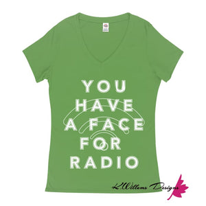 Radio Face Ladies V-Neck T-Shirts - Grass Green / Small (S)
