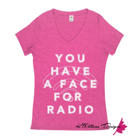 Image of Radio Face Ladies V-Neck T-Shirts - Heliconia Heather / Small (S)