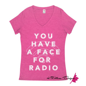 Radio Face Ladies V-Neck T-Shirts - Heliconia Heather / Small (S)