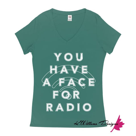 Image of Radio Face Ladies V-Neck T-Shirts - Jade / Small (S)