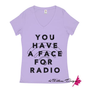 Radio Face Ladies V-Neck T-Shirts - Lavender / Small (S)