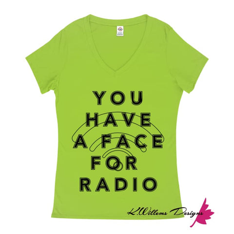 Image of Radio Face Ladies V-Neck T-Shirts - Lime / Small (S)