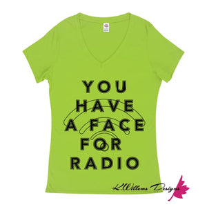 Radio Face Ladies V-Neck T-Shirts - Lime / Small (S)