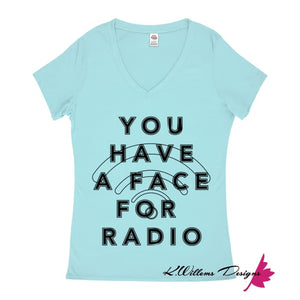 Radio Face Ladies V-Neck T-Shirts - Pool / Small (S)
