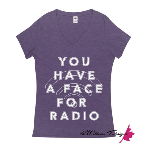 Image of Radio Face Ladies V-Neck T-Shirts - Purple Heather / Small (S)