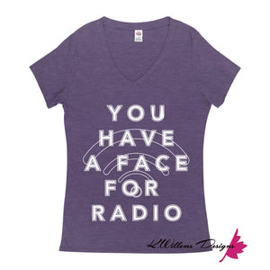 Radio Face Ladies V-Neck T-Shirts - Purple Heather / Small (S)