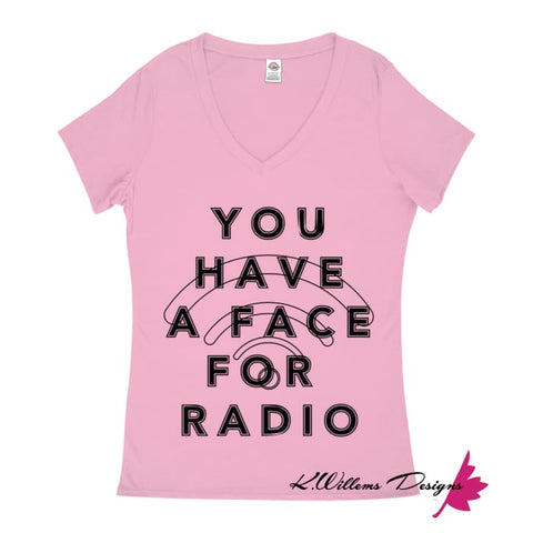 Image of Radio Face Ladies V-Neck T-Shirts - Soft Pink / Small (S)