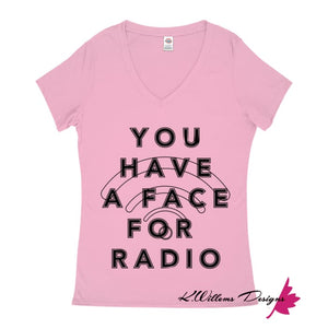 Radio Face Ladies V-Neck T-Shirts - Soft Pink / Small (S)