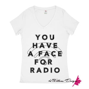 Radio Face Ladies V-Neck T-Shirts - White / Small (S)
