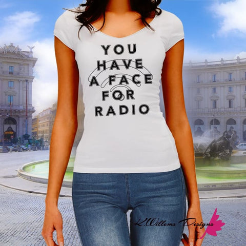 Image of Radio Face Ladies District V-Neck T-Shirts