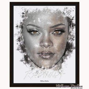 Rihanna Ink Smudge Style Art Print - Framed Canvas Art Print / 16x20 inch
