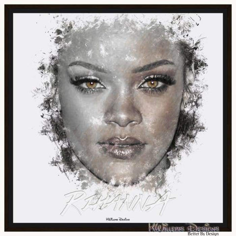Image of Rihanna Ink Smudge Style Art Print - Framed Canvas Art Print / 24x24 inch