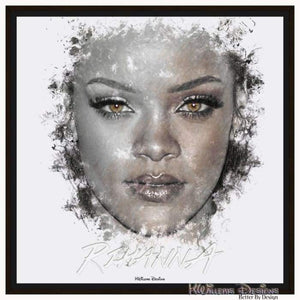 Rihanna Ink Smudge Style Art Print - Framed Canvas Art Print / 24x24 inch