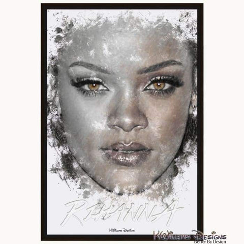 Image of Rihanna Ink Smudge Style Art Print - Framed Canvas Art Print / 24x36 inch