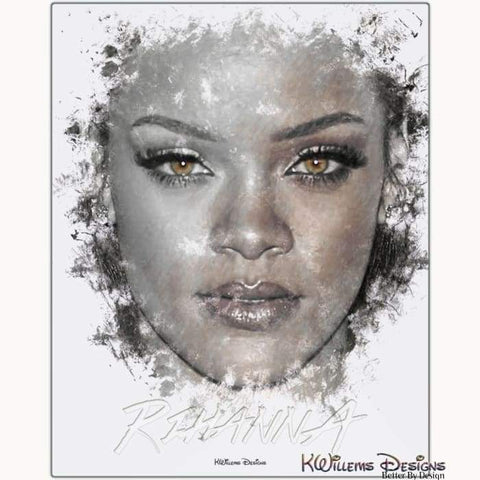 Image of Rihanna Ink Smudge Style Art Print - Metal Art Print / 16x20 inch
