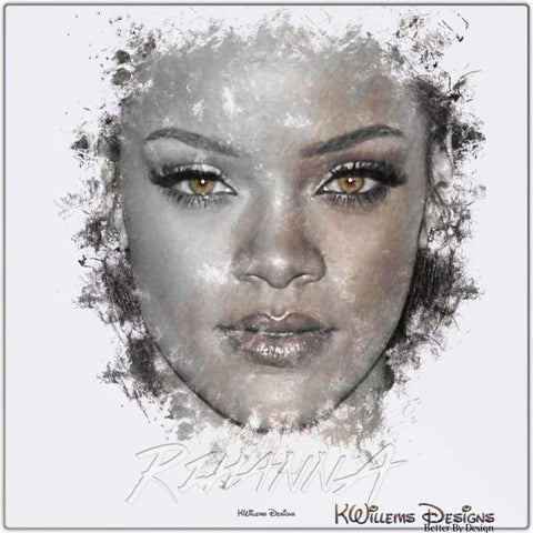 Image of Rihanna Ink Smudge Style Art Print - Metal Art Print / 24x24 inch