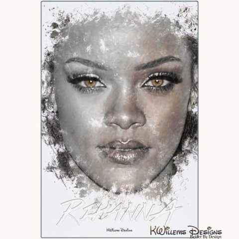 Image of Rihanna Ink Smudge Style Art Print - Metal Art Print / 24x36 inch