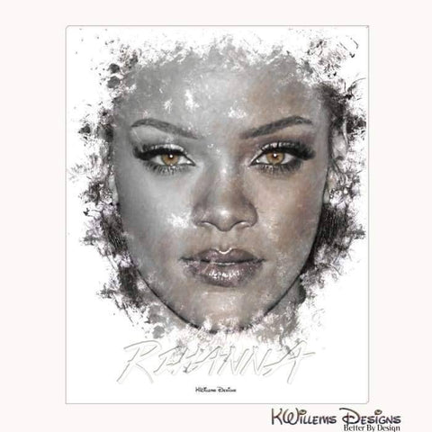 Image of Rihanna Ink Smudge Style Art Print - Wrapped Canvas Art Print / 16x20 inch