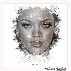 Rihanna Ink Smudge Style Art Print - Wrapped Canvas Art Print / 24x24 inch
