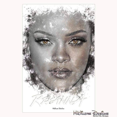 Image of Rihanna Ink Smudge Style Art Print - Wrapped Canvas Art Print / 24x36 inch