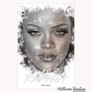 Rihanna Ink Smudge Style Art Print - Wrapped Canvas Art Print / 24x36 inch