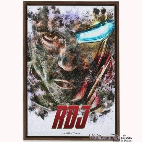 Image of Robert Downey Jr as Iron Man Ink Smudge Style Art Print - Framed Canvas Art Print / 24x36 inch