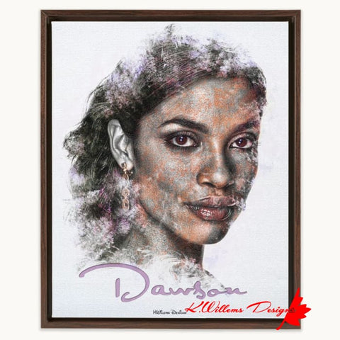 Rosario Dawson Ink Smudge Style Art Print - Framed Canvas Art Print / 16x20 inch