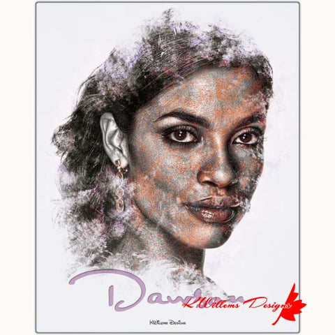 Rosario Dawson Ink Smudge Style Art Print - Metal Art Print / 16x20 inch