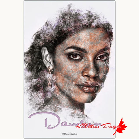 Rosario Dawson Ink Smudge Style Art Print - Metal Art Print / 24x36 inch