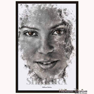 Shakira Ink Smudge Style Art Print - Framed Canvas Art Print / 24x36 inch