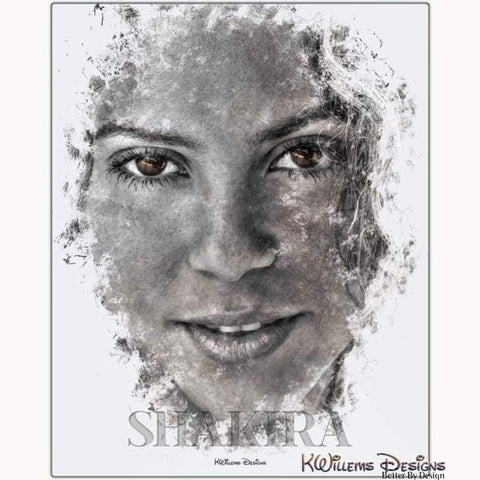 Image of Shakira Ink Smudge Style Art Print - Metal Art Print / 16x20 inch