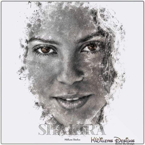 Image of Shakira Ink Smudge Style Art Print - Metal Art Print / 24x24 inch