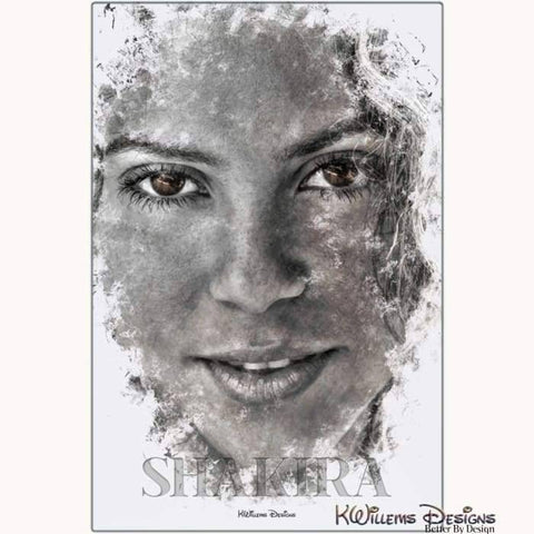 Image of Shakira Ink Smudge Style Art Print - Metal Art Print / 24x36 inch