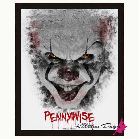 Image of Bill Skarsgard as Pennywise Ink Smudge Style Art Print - Framed Canvas Art Print / 16x20 inch