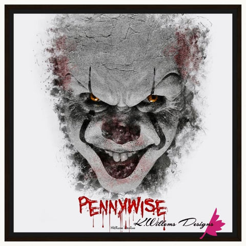 Bill Skarsgard as Pennywise Ink Smudge Style Art Print - Framed Canvas Art Print / 24x24 inch