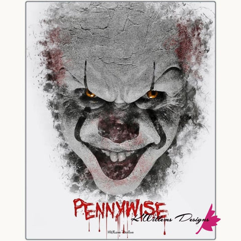 Image of Bill Skarsgard as Pennywise Ink Smudge Style Art Print - Metal Art Print / 16x20 inch