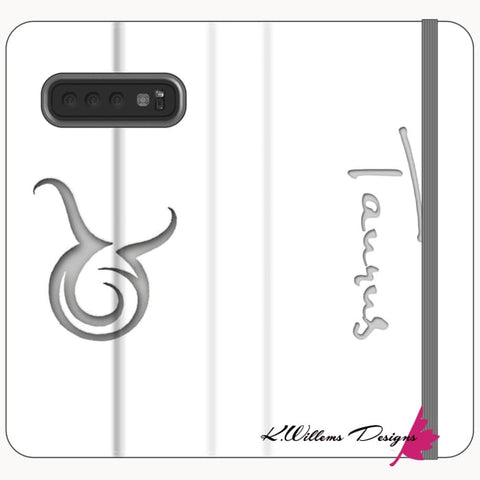 Image of Taurus Phone Cases - Samsung Galaxy S10 / Premium Folio Wallet Satin Case