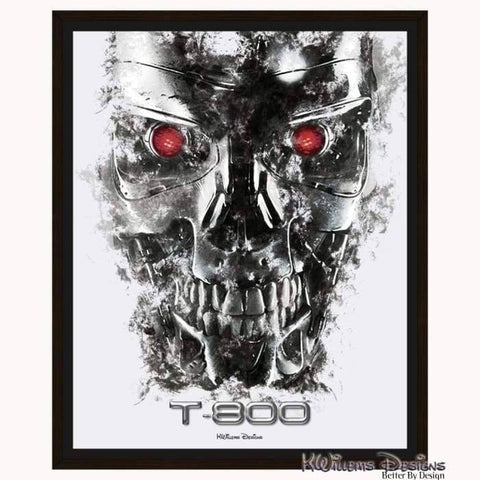Image of Terminator Ink Smudge Style Art Print - Framed Canvas Art Print / 16x20 inch