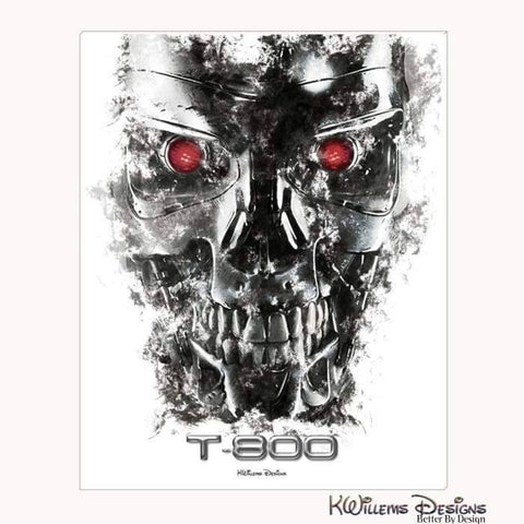 Image of Terminator Ink Smudge Style Art Print - Wrapped Canvas Art Print / 16x20 inch