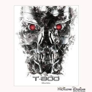 Terminator Ink Smudge Style Art Print - Wrapped Canvas Art Print / 16x20 inch